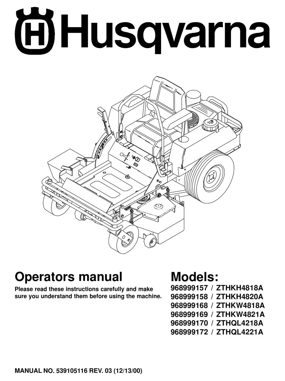 HUSQVARNA ZTHKH4818A OPERATOR'S MANUAL Pdf Download