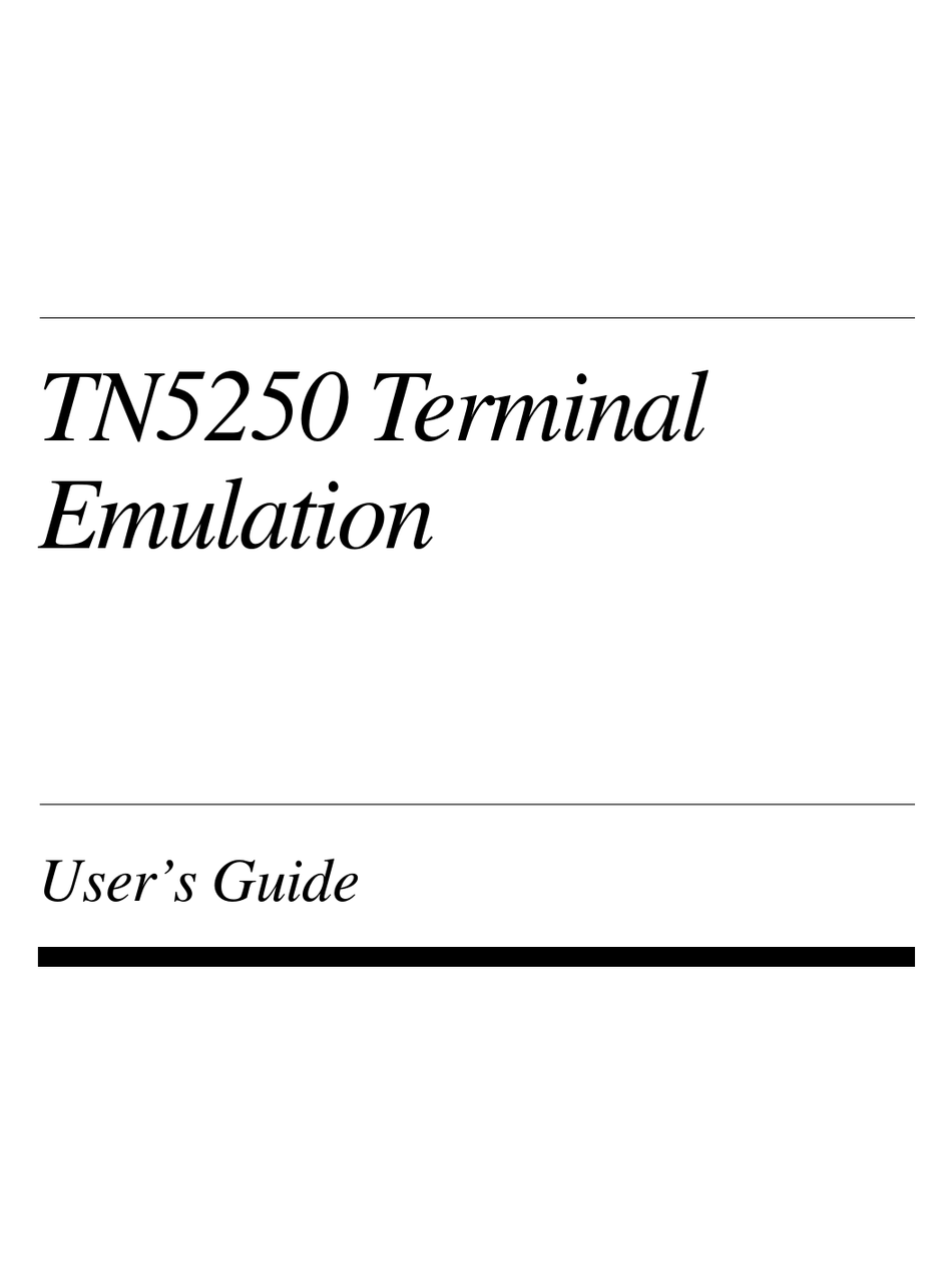 IBM TERMINAL EMULATION TN5250 USER MANUAL Pdf Download