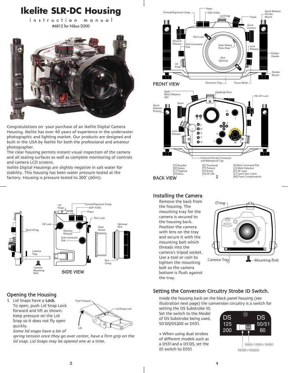 IKELITE NIKON D200 INSTRUCTION MANUAL Pdf Download