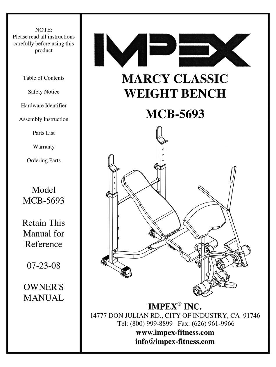 IMPEX MARCY CLASSIC MCB-5693 OWNER'S MANUAL Pdf Download