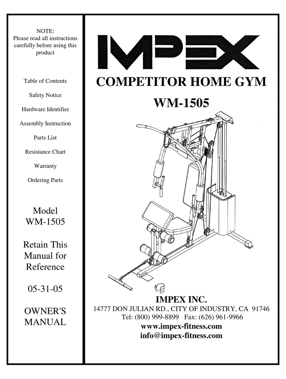IMPEX COMPETITOR WM-1505 OWNER'S MANUAL Pdf Download