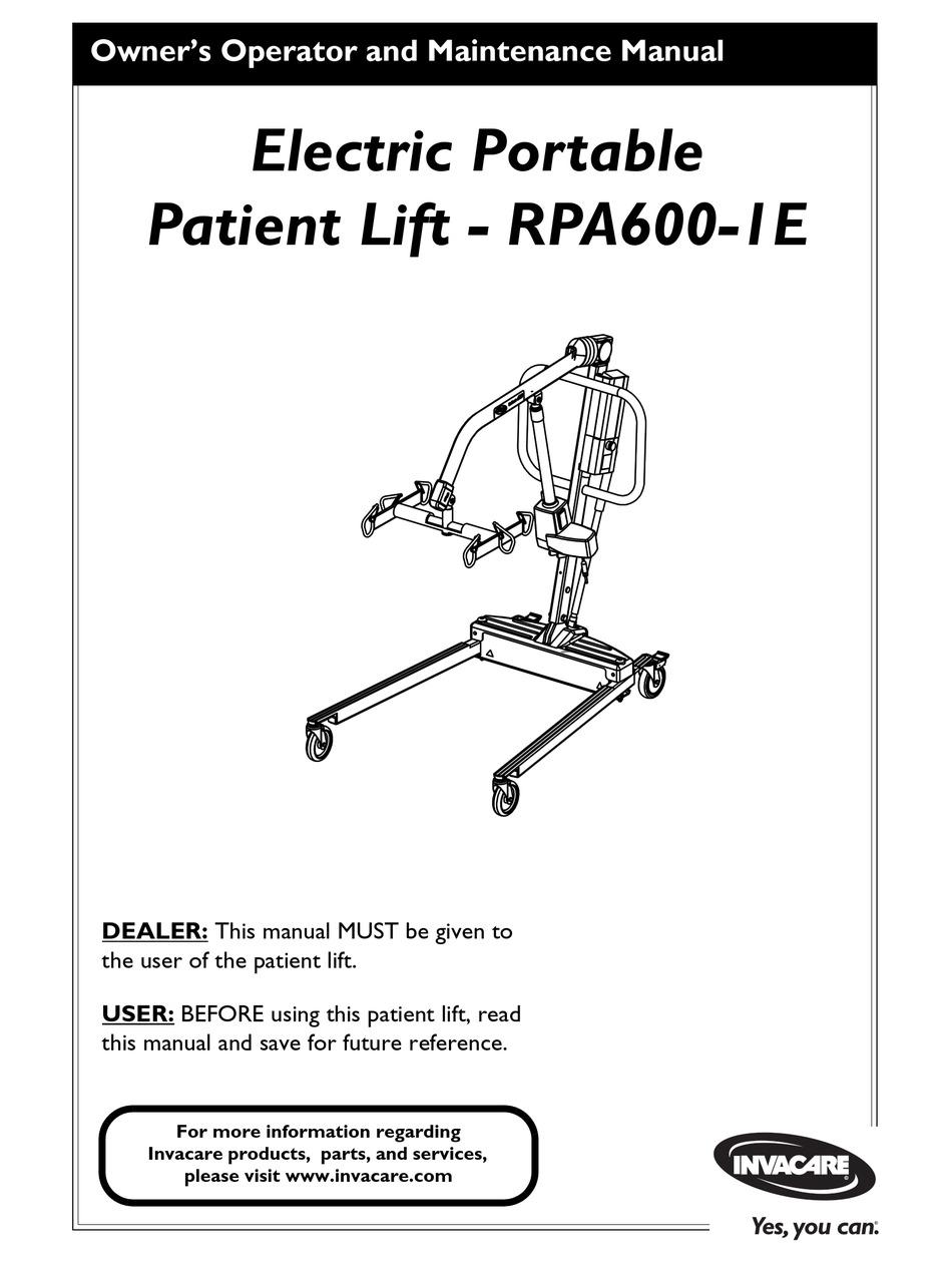 INVACARE ELECTRIC PORTABLE PATIENT LIFT RPA600-1E