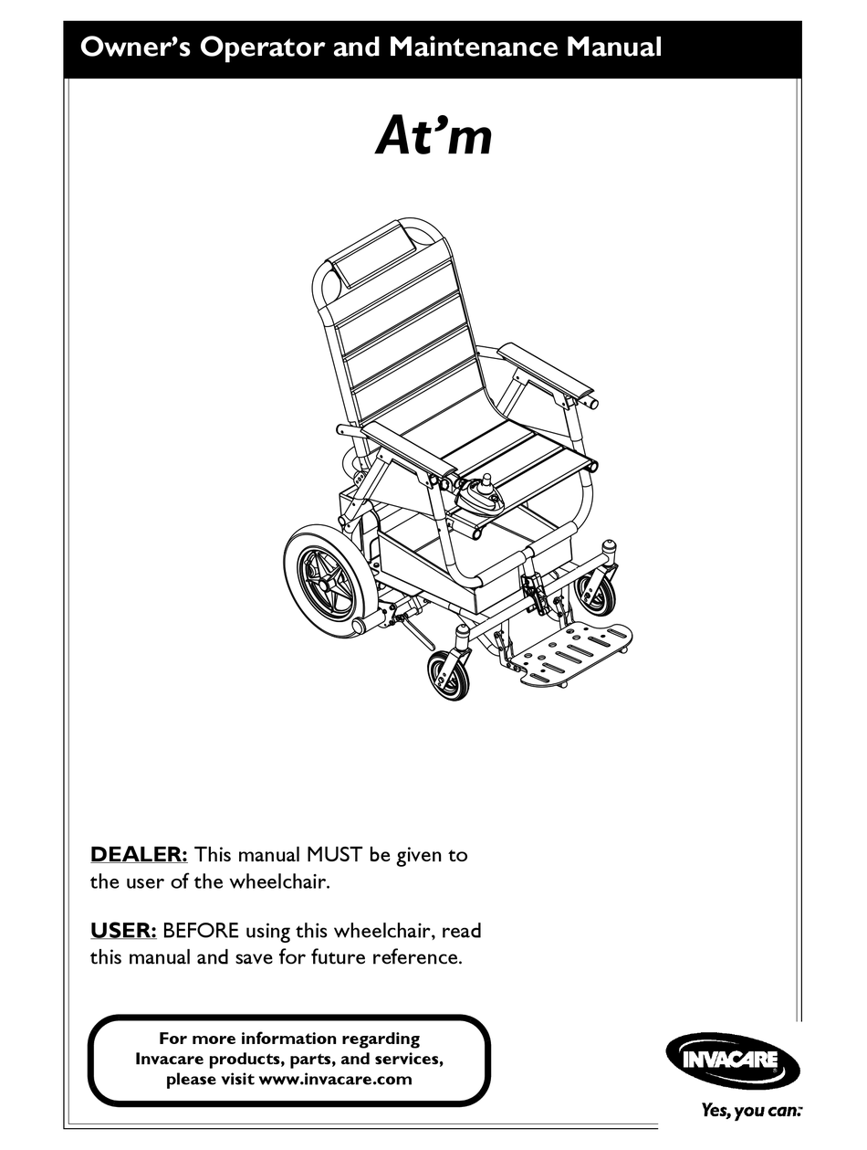 INVACARE AT'M OWNER'S OPERATOR AND MAINTENANCE MANUAL Pdf