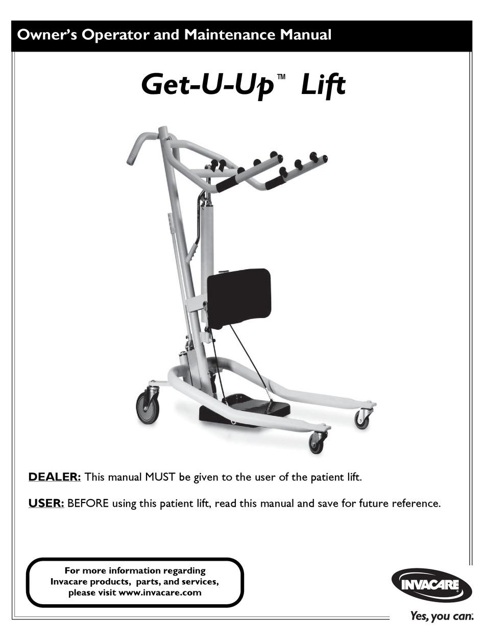 INVACARE GET-U-UP LIFT MAINTENANCE MANUAL Pdf Download