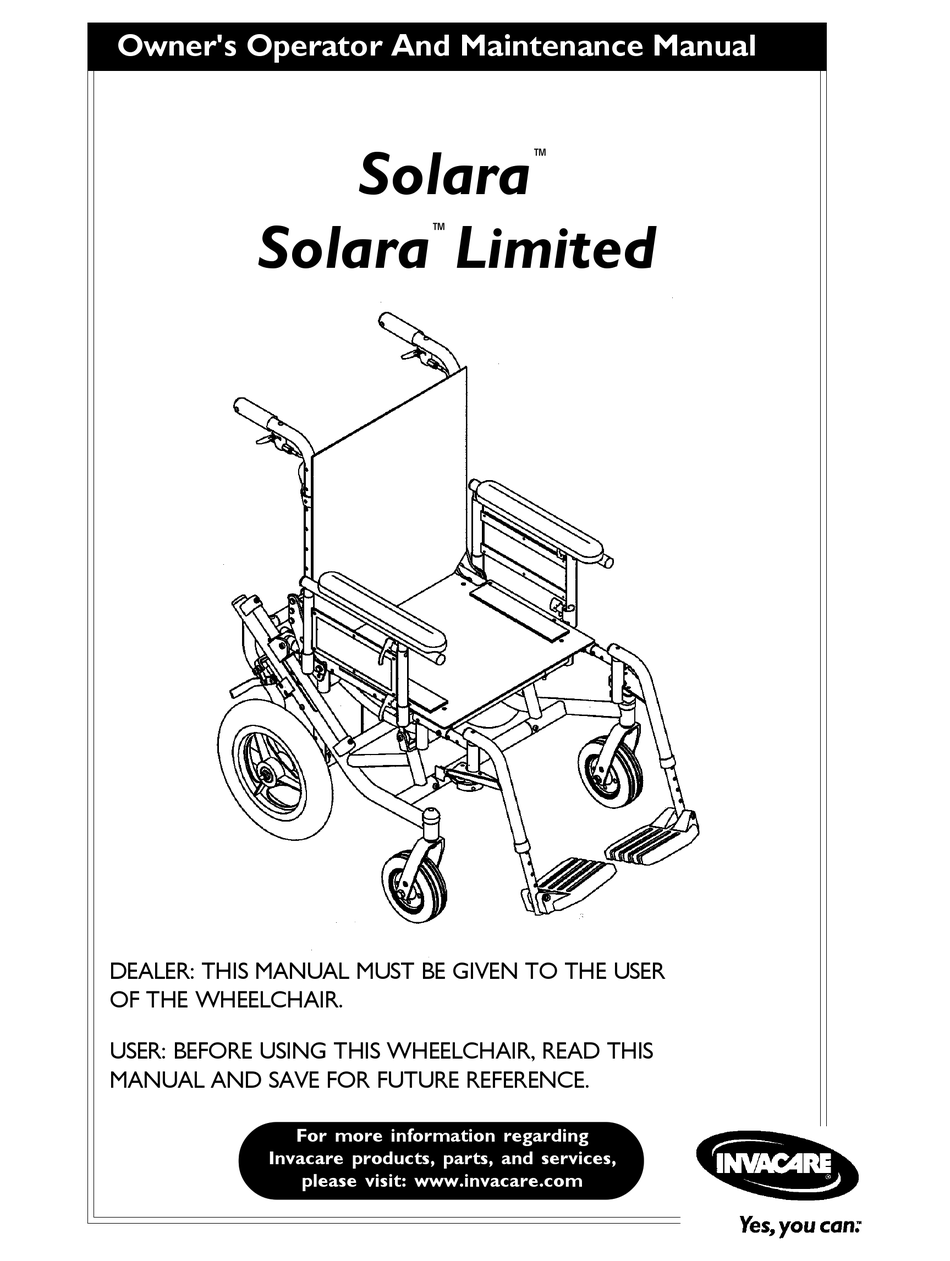 INVACARE 1080556 OWNER'S OPERATOR AND MAINTENANCE MANUAL