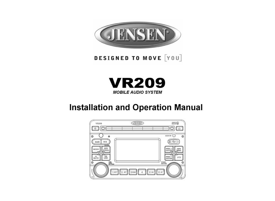 JENSEN VR209 INSTALLATION AND OPERATION MANUAL Pdf