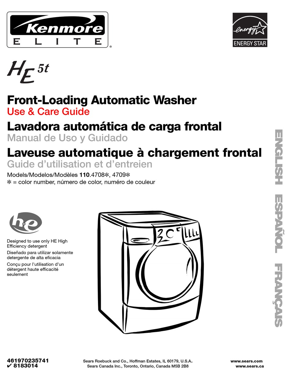 KENMORE ELITE HE5T USE AND CARE MANUAL Pdf Download