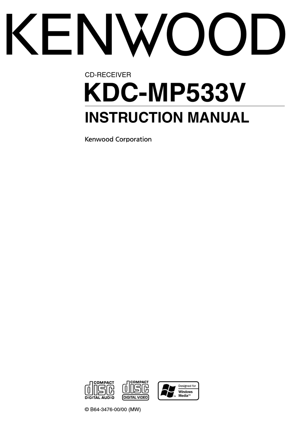 KENWOOD KDC-MP533V INSTRUCTION MANUAL Pdf Download