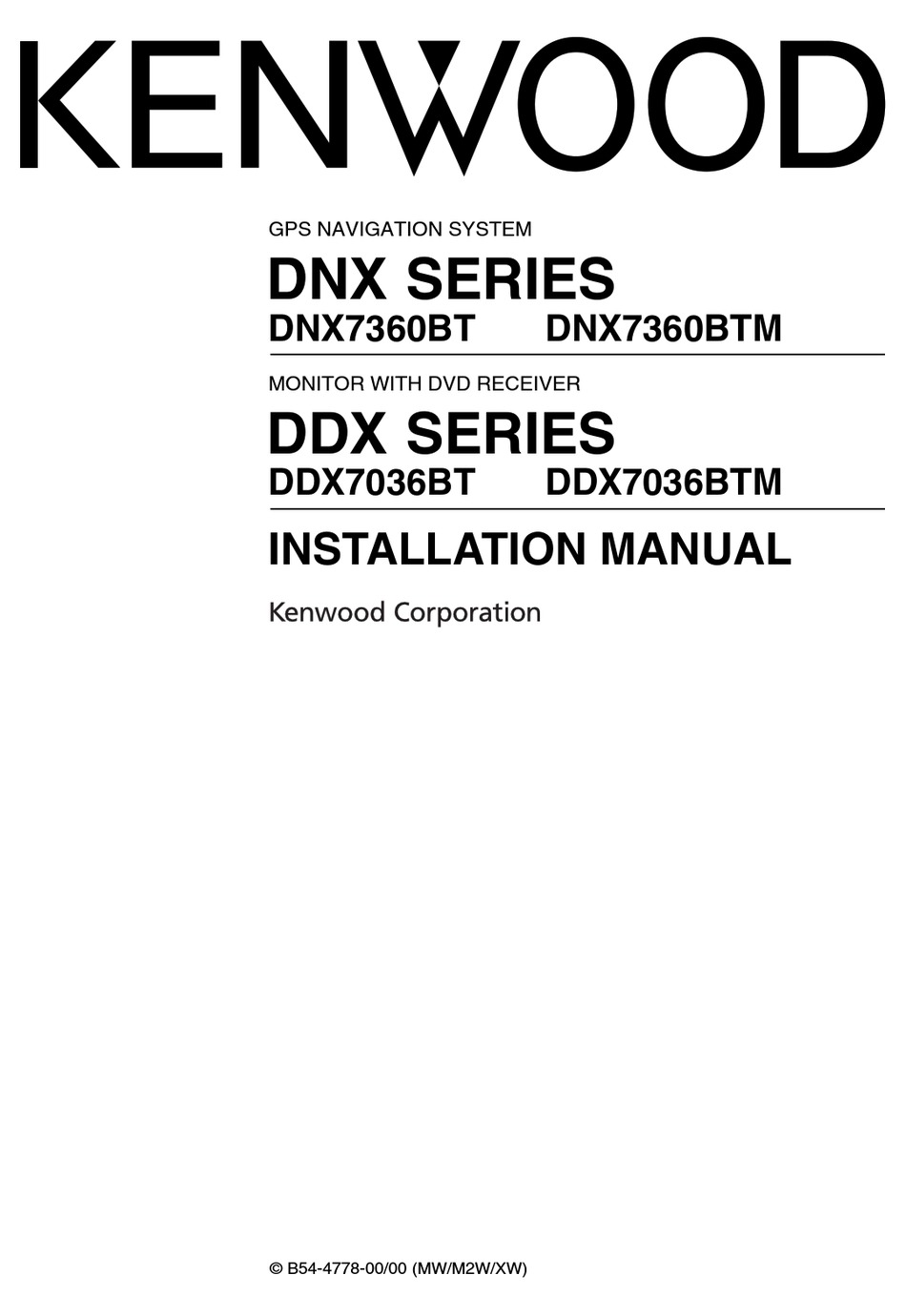 KENWOOD DNX SERIES DDX7036BT INSTALLATION MANUAL Pdf