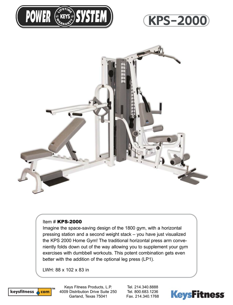 Keys Fitness Power System : fitness, power, system, FITNESS, POWER, SYSTEM, KPS-2000, SPECIFICATIONS, Download, ManualsLib