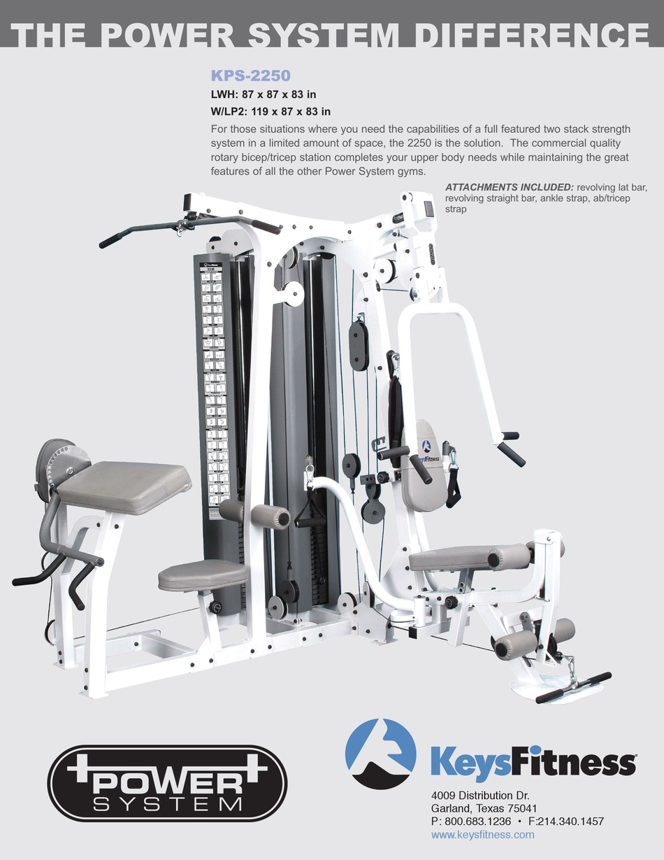 Keys Fitness Power System : fitness, power, system, FITNESS, POWER, SYSTEM, KPS-2250, SPECIFICATIONS, Download, ManualsLib