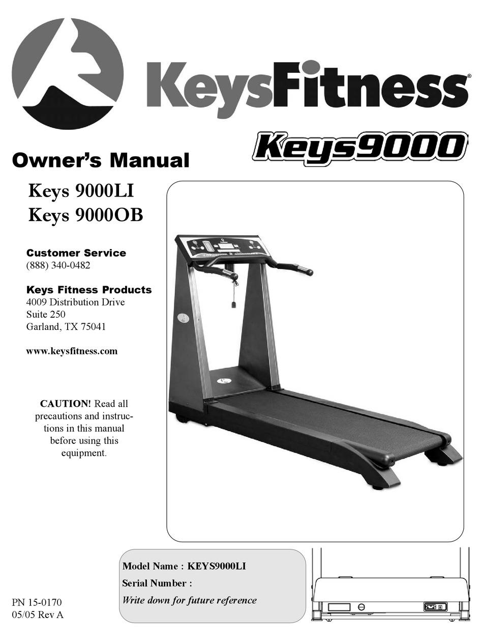 Keys Fitness Treadmill : fitness, treadmill, FITNESS, 9000LI, OWNER'S, MANUAL, Download, ManualsLib