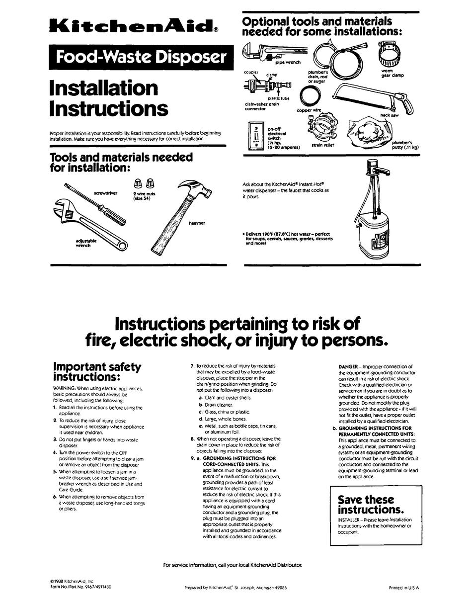 KITCHENAID GARBAGE DISPOSAL INSTALLATION INSTRUCTIONS Pdf