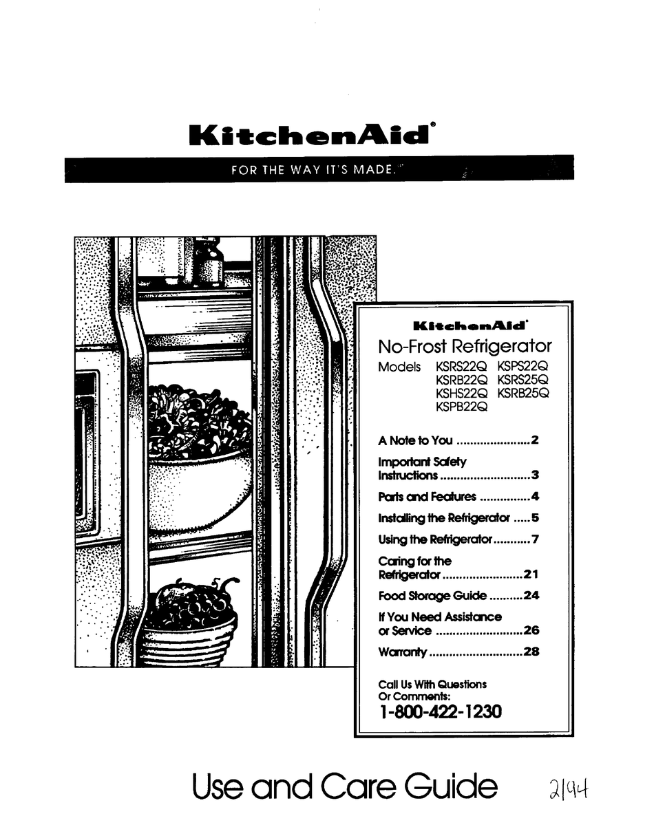 KITCHENAID NO-FROST REFRIGERATOR KSHS22Q USE AND CARE