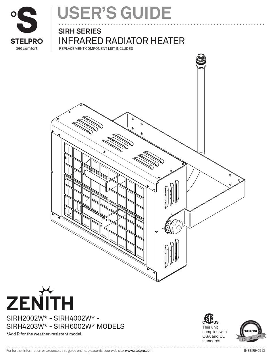 STELPRO ZENITH SIRH2002W SERIES USER MANUAL Pdf Download