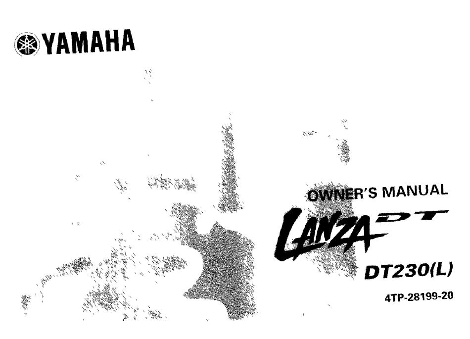 YAMAHA LANZA DT DT230L OWNER'S MANUAL Pdf Download