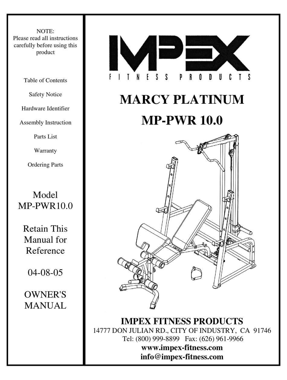 MPEX MARCY PLATINUM MP-PWR 10.0 OWNER'S MANUAL Pdf