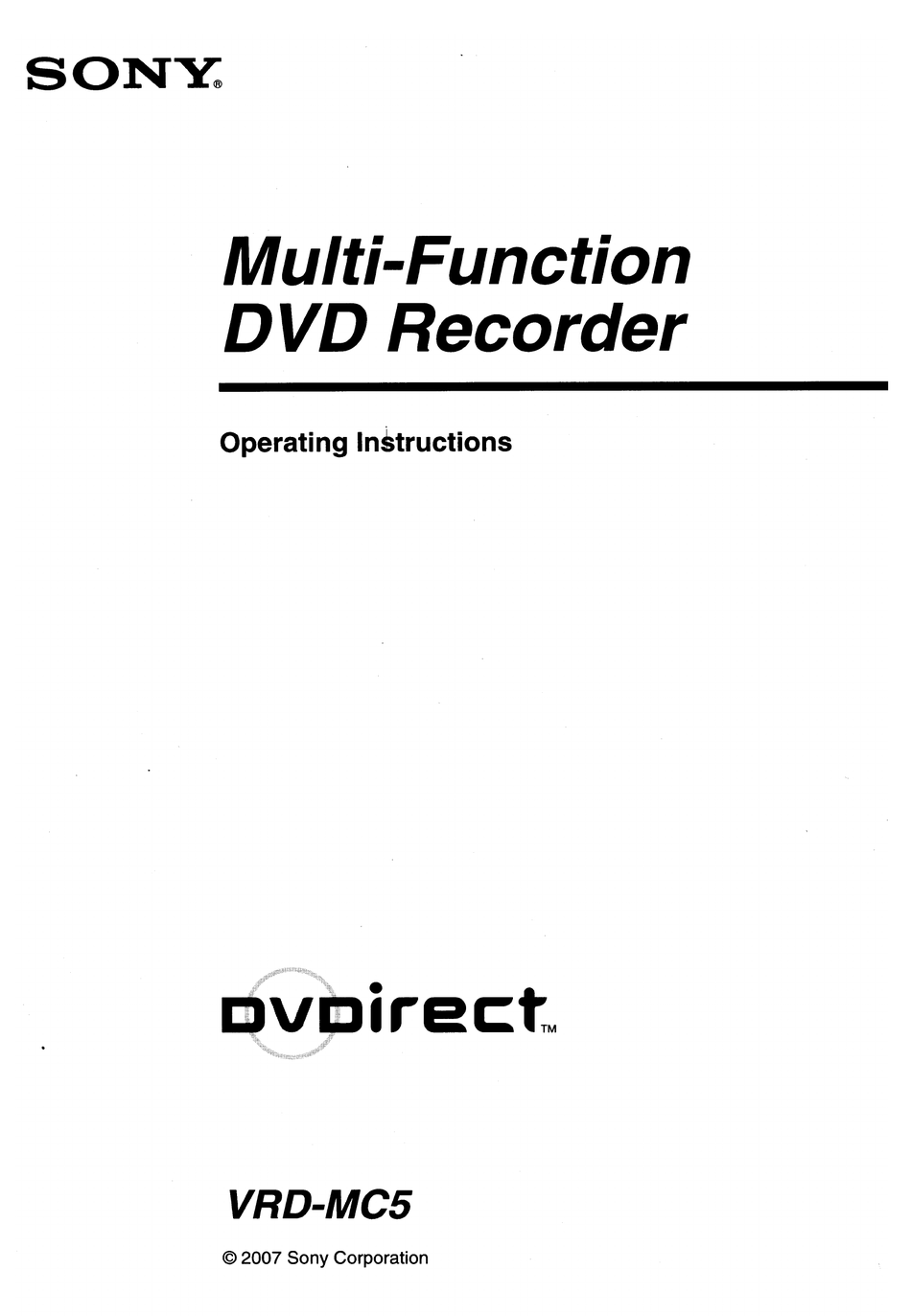 SONY DVDIRECT VRD-MC5 OPERATING INSTRUCTIONS MANUAL Pdf