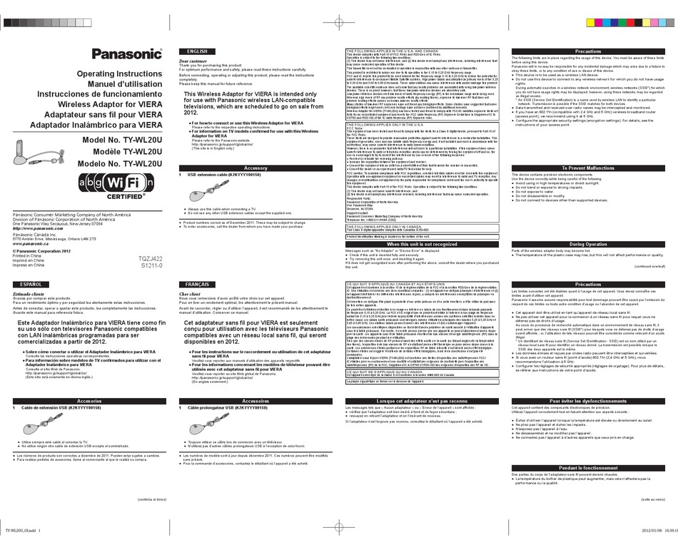 PANASONIC TY-WL20U OPERATING INSTRUCTIONS Pdf Download