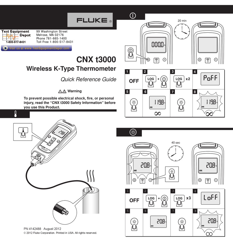 FLUKE CNX T3000 QUICK REFERENCE MANUAL Pdf Download