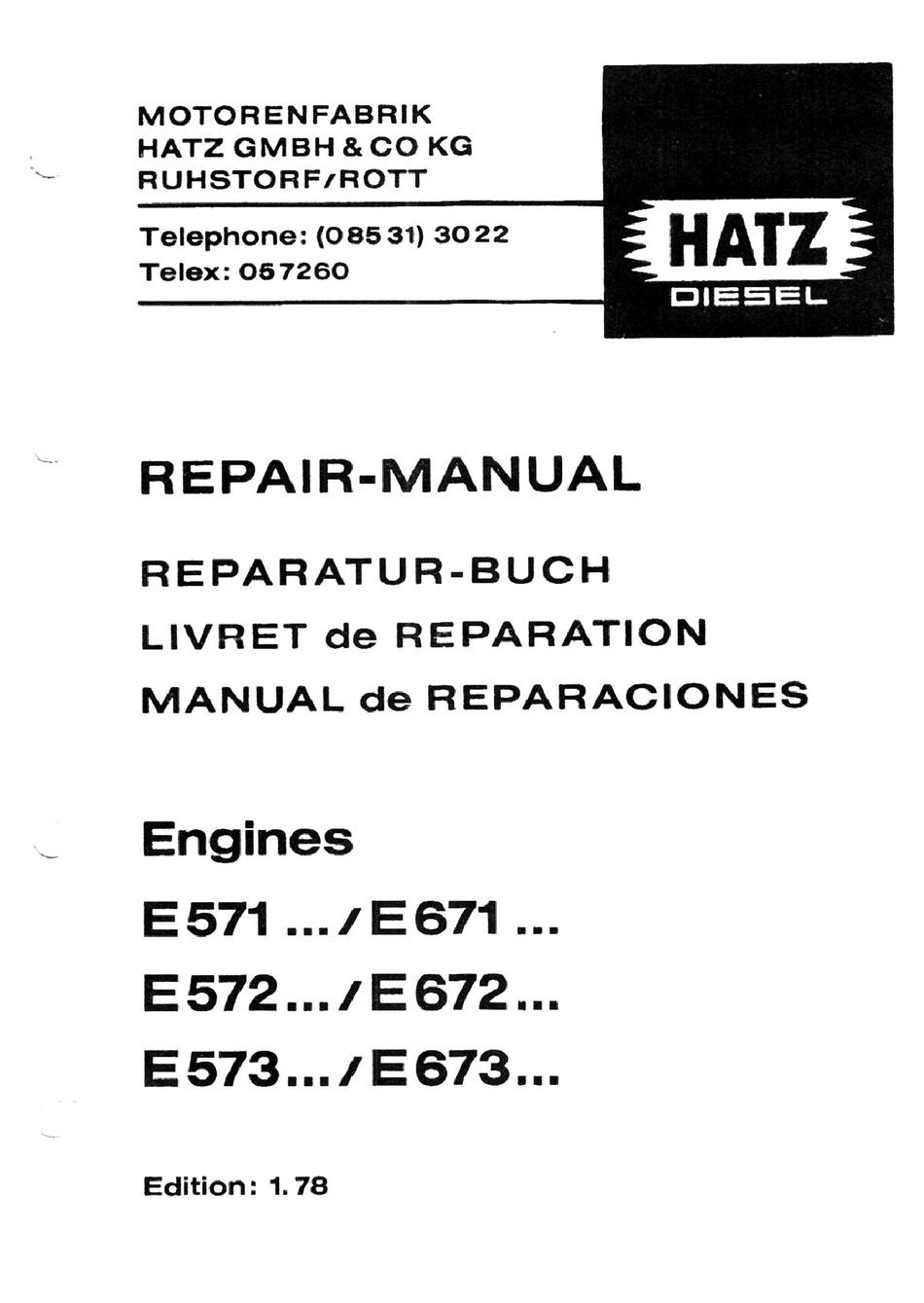 HATZ DIESEL E 571 SERIES REPAIR MANUAL Pdf Download