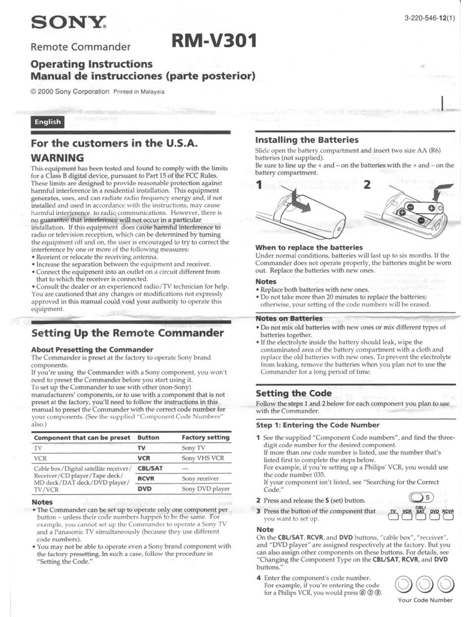 SONY RM-V301 OPERATION INSTRUCTION MANUAL Pdf Download