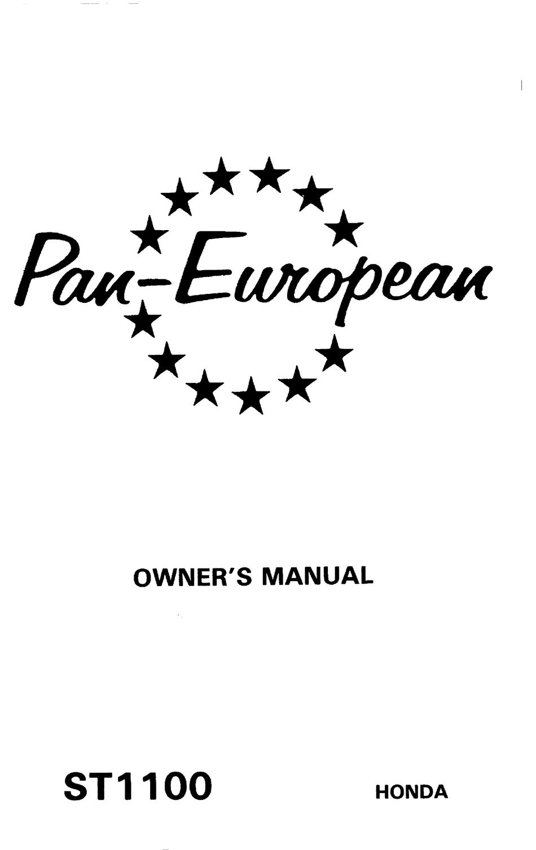 HONDA PAN EUROPEAN ST1100 OWNER'S MANUAL Pdf Download