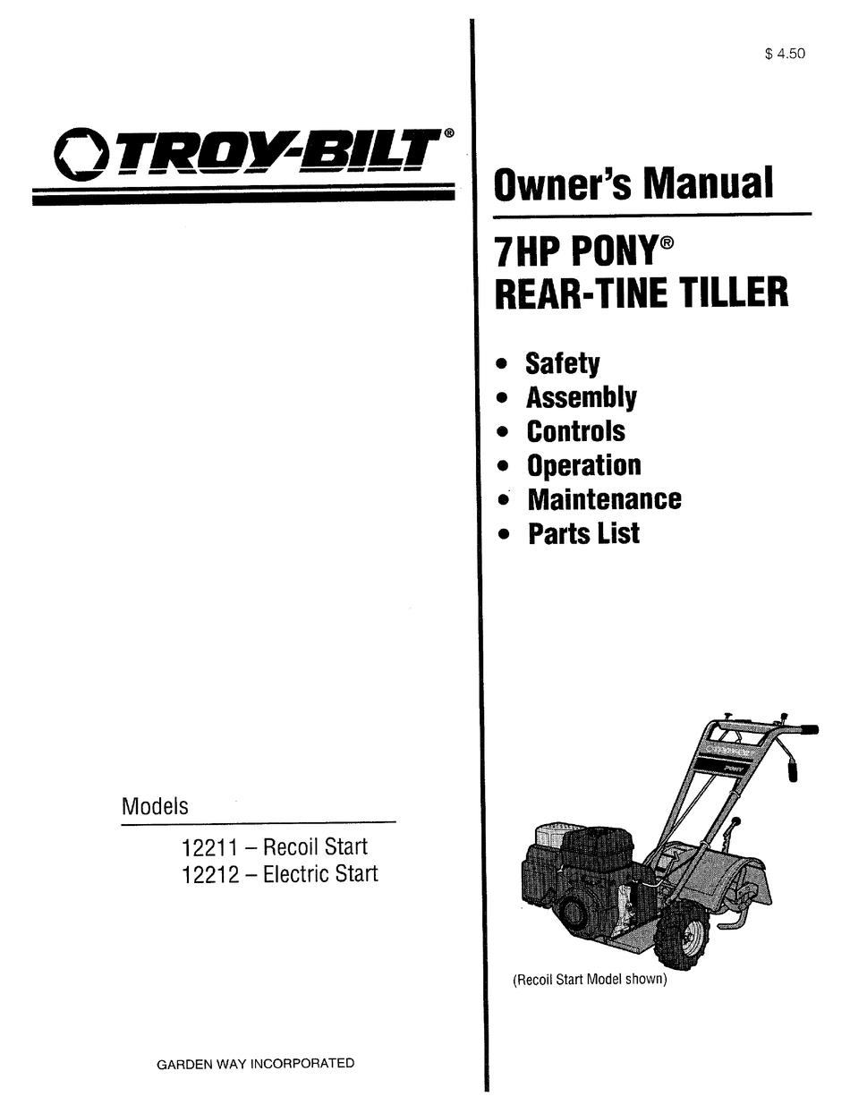 TROY-BILT 7HP PONY 12211 OWNER'S MANUAL Pdf Download