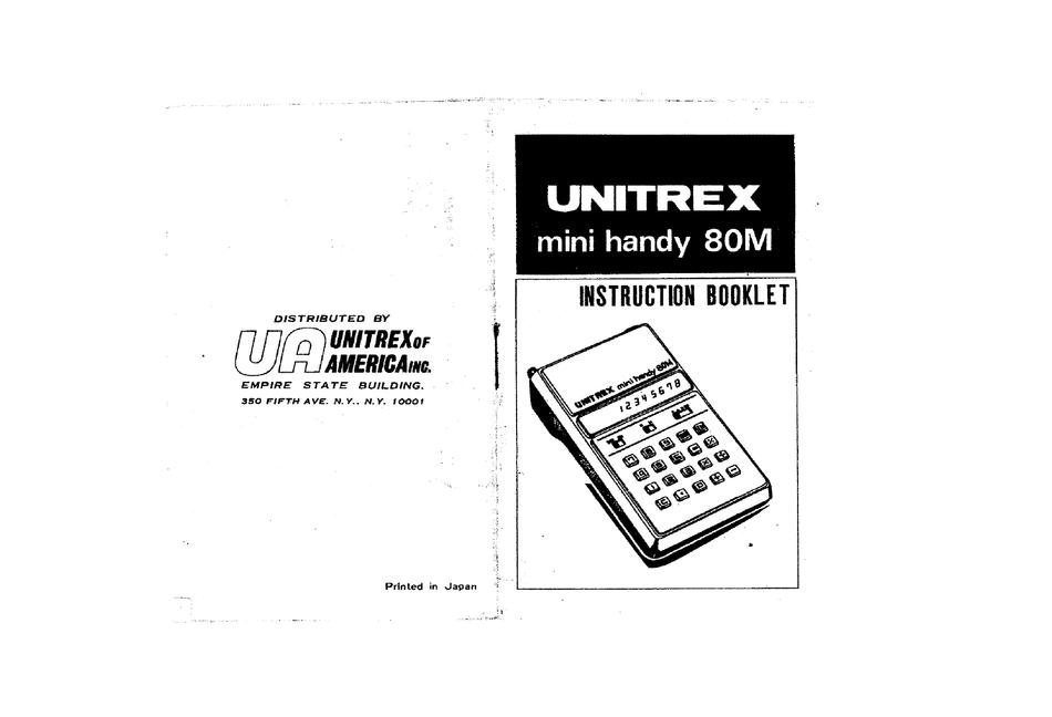 UNITREX MINI HANDY 80M INSTRUCTION BOOKLET Pdf Download