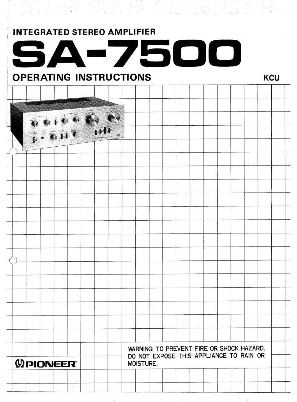 PIONEER SA-7500 OPERATING INSTRUCTIONS MANUAL Pdf Download