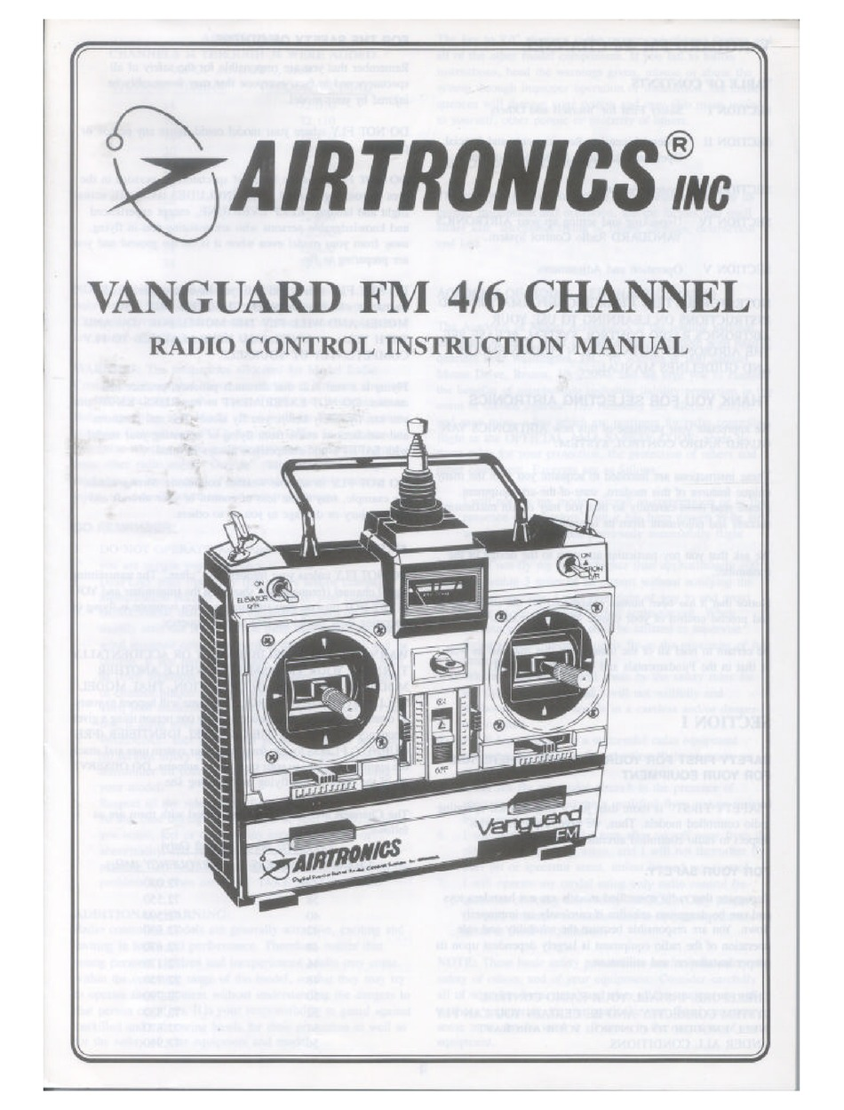 AIRTRONICS VANGUARD FM 4 CHANNEL INSTRUCTION MANUAL Pdf