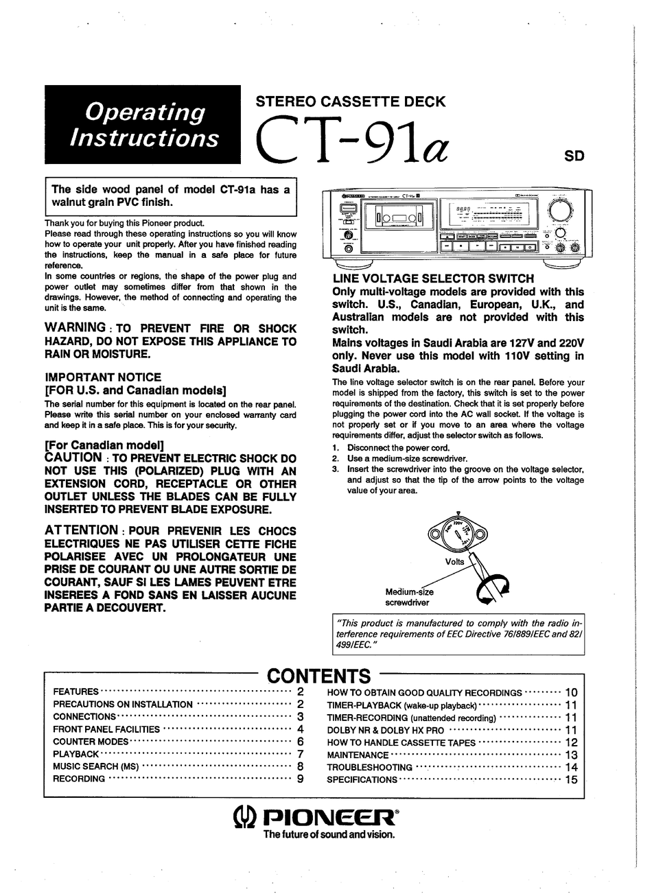 PIONEER CT-91A OPERATING INSTRUCTIONS MANUAL Pdf Download