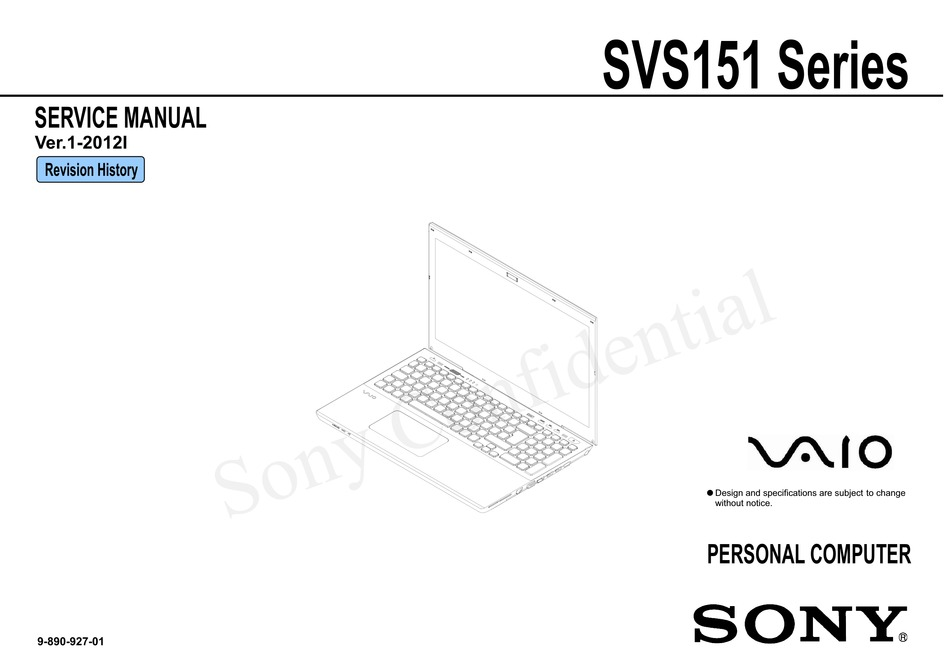 SONY VAIO SVS151 SERIES SERVICE MANUAL Pdf Download