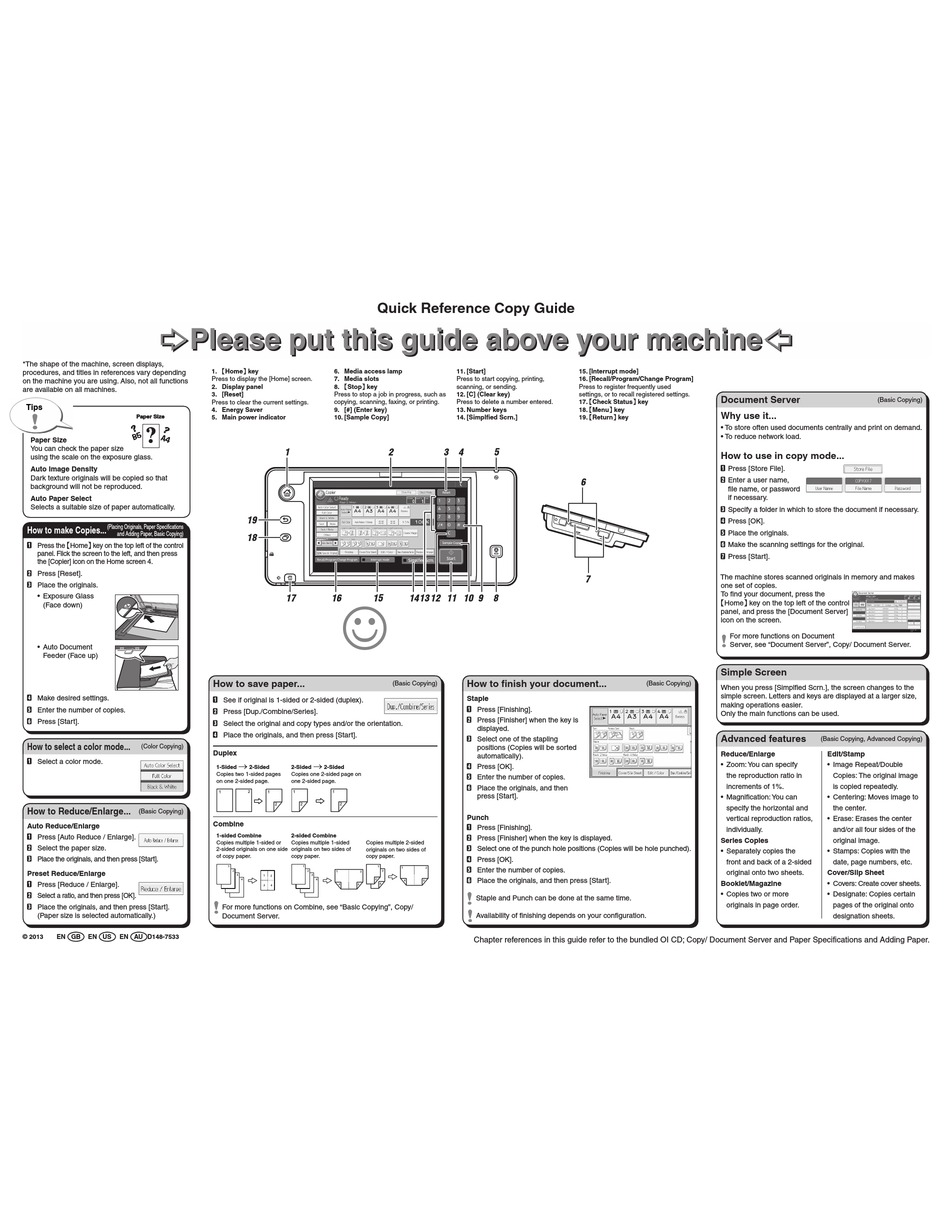RICOH MP C3003 QUICK REFERENCE COPY MANUAL Pdf Download