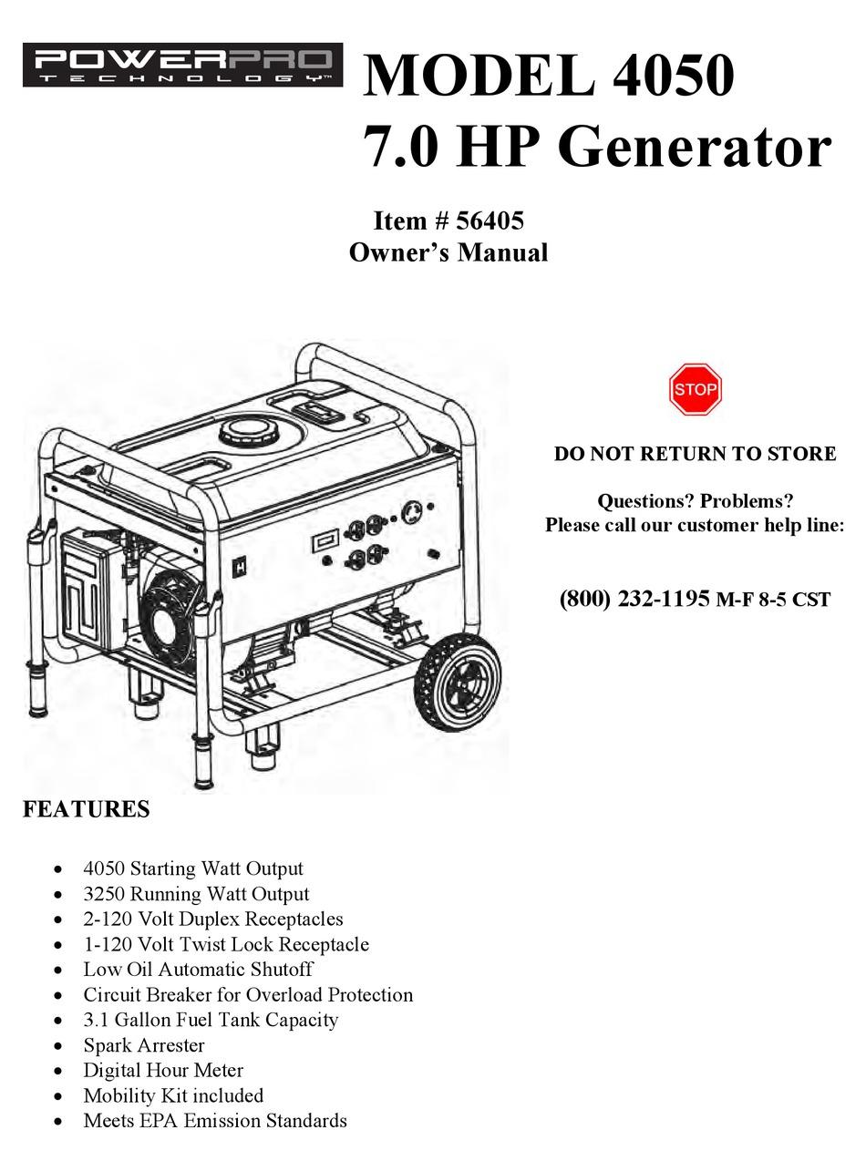 POWERPRO TECHNOLOGY 4050 OWNER'S MANUAL Pdf Download
