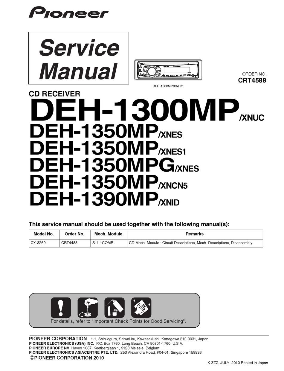 Pioneer Deh-1300mp Wiring Diagram : pioneer, deh-1300mp, wiring, diagram, PIONEER, DEH-1300MP, SERVICE, MANUAL, Download, ManualsLib