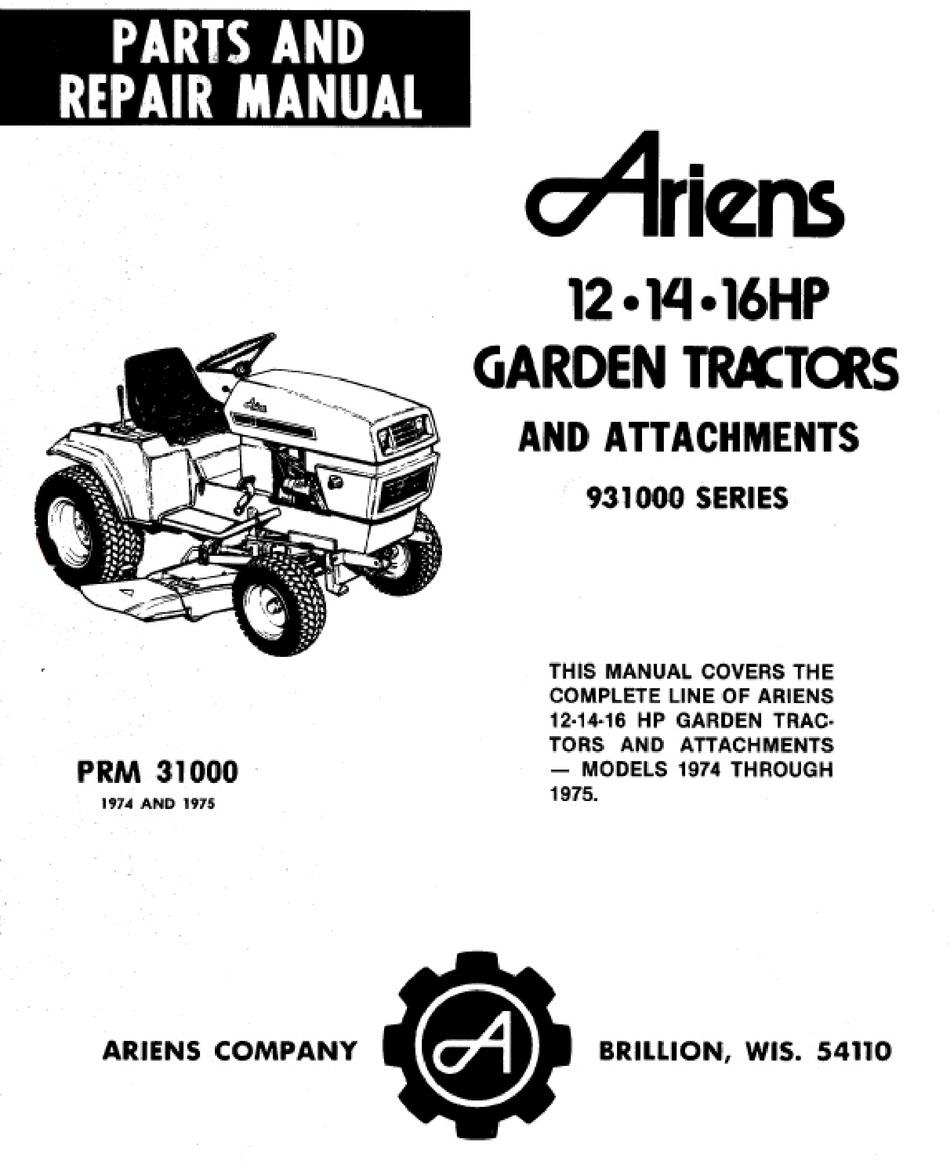 ARIENS 931001 PARTS AND REPAIR MANUAL Pdf Download