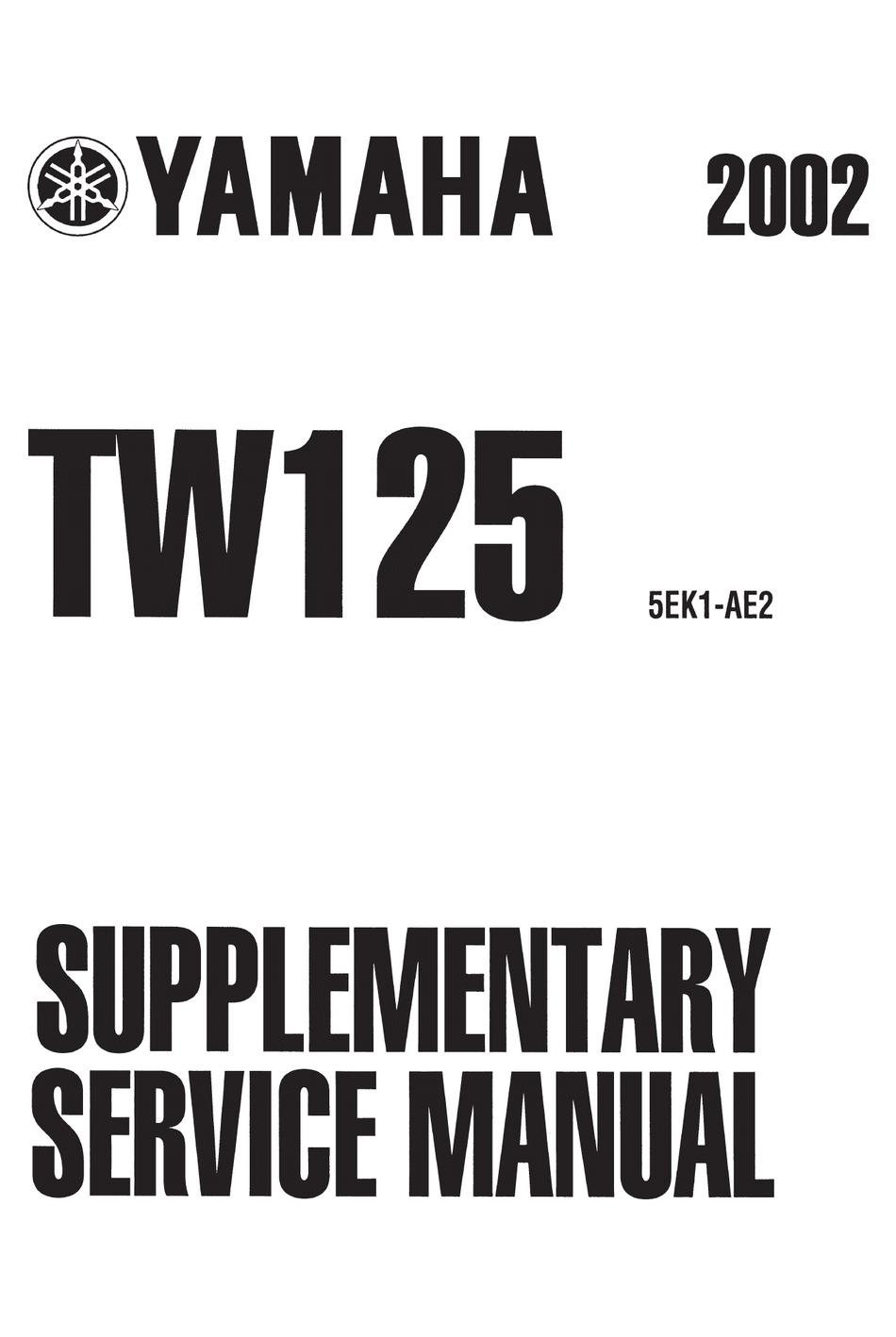 YAMAHA 2002 TW125 SUPPLEMENTARY SERVICE MANUAL Pdf