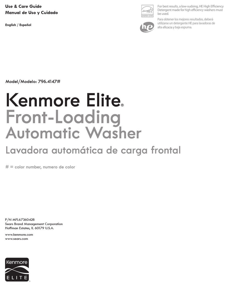 KENMORE ELITE 796.4147 USE & CARE MANUAL Pdf Download