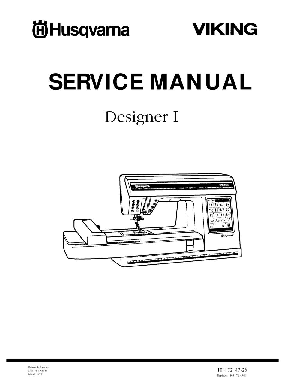HUSQVARNA VIKING DESIGNER I SERVICE MANUAL Pdf Download