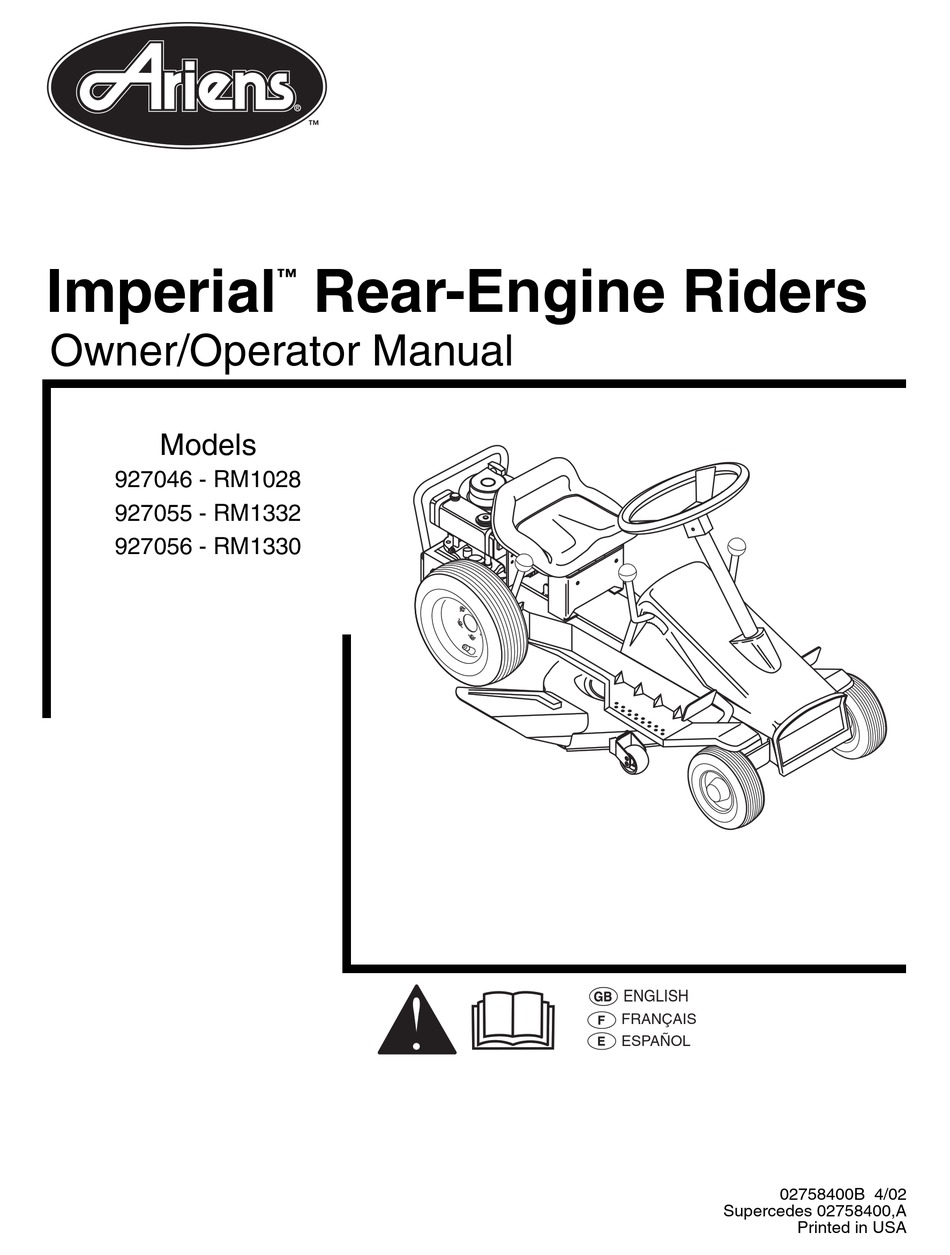 ARIENS 927046 RM1028 OWNER'S AND OPERATOR'S MANUAL Pdf