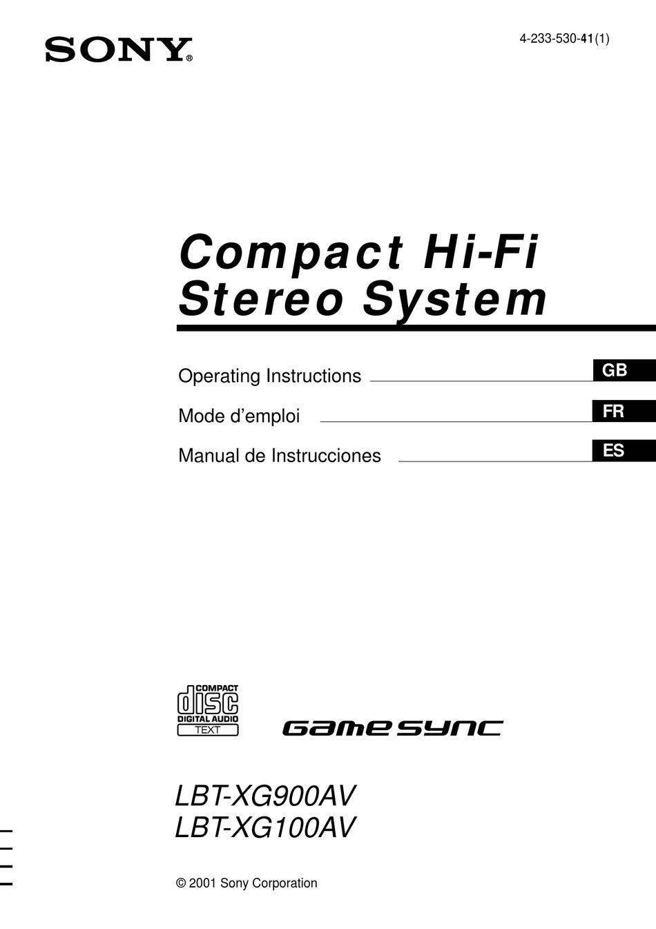 SONY GAME SYNC LBT-XG900AV OPERATING INSTRUCTIONS MANUAL