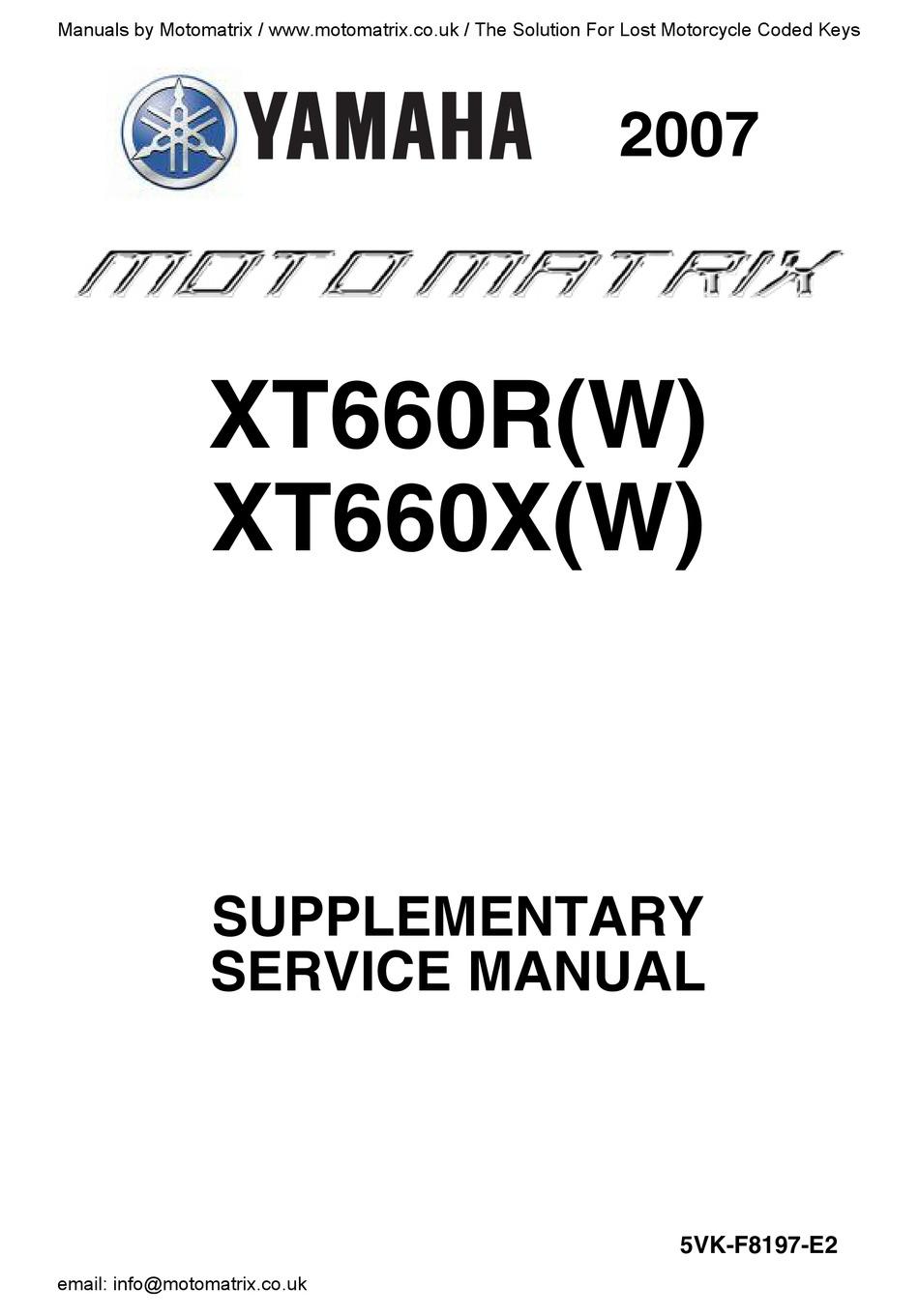 YAMAHA XT660RW 2007 SUPPLEMENTARY SERVICE MANUAL Pdf