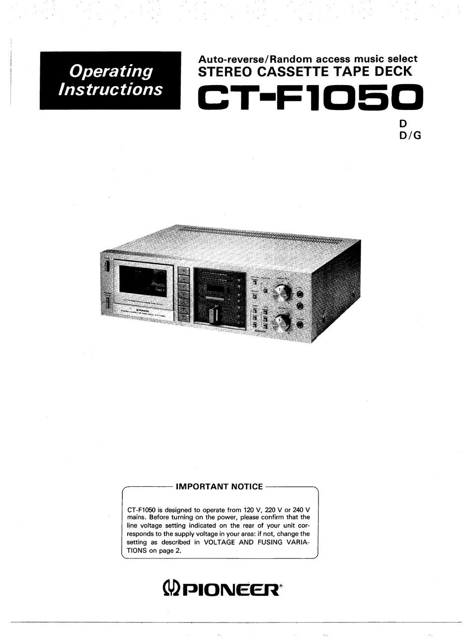 F1050 : f1050, PIONEER, CT-F1050, OPERATING, INSTRUCTIONS, MANUAL, Download, ManualsLib