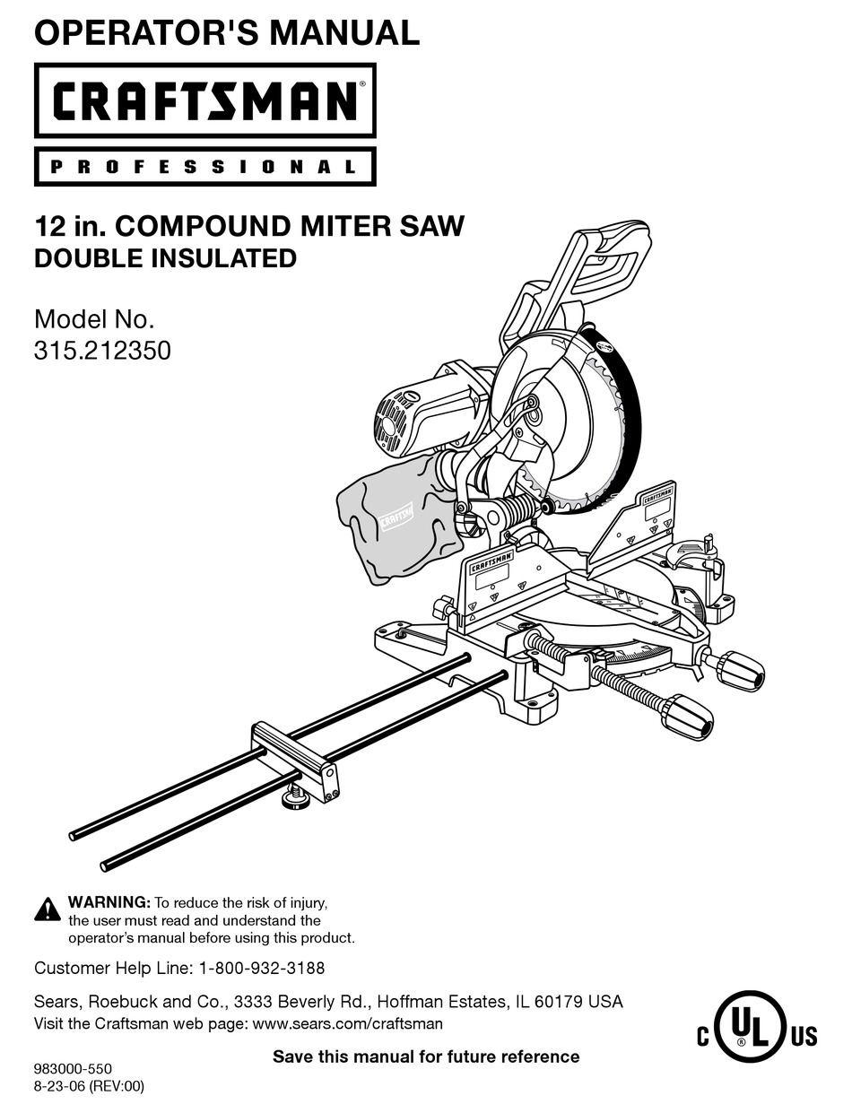 CRAFTSMAN 315.212350 OPERATOR'S MANUAL Pdf Download