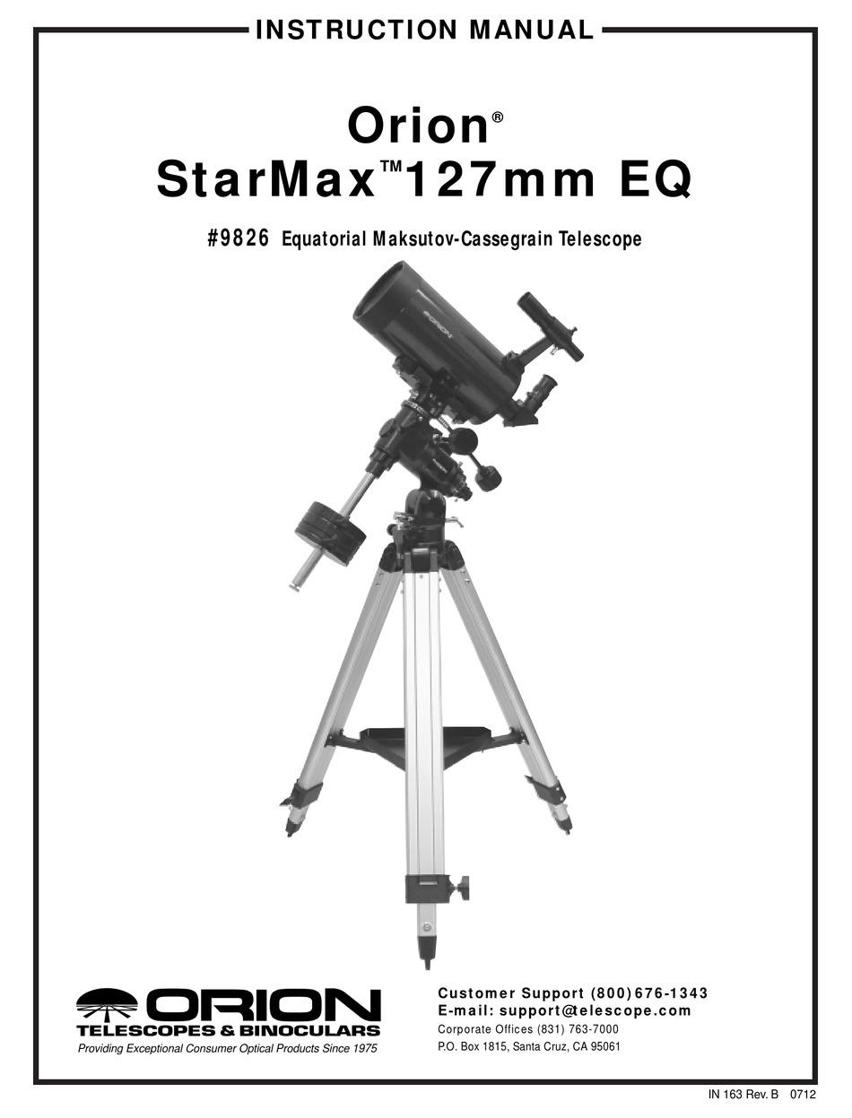 ORION STARMAX 127MM EQ INSTRUCTION MANUAL Pdf Download