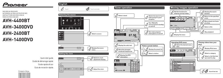 PIONEER AVH-4400BT QUICK START MANUAL Pdf Download