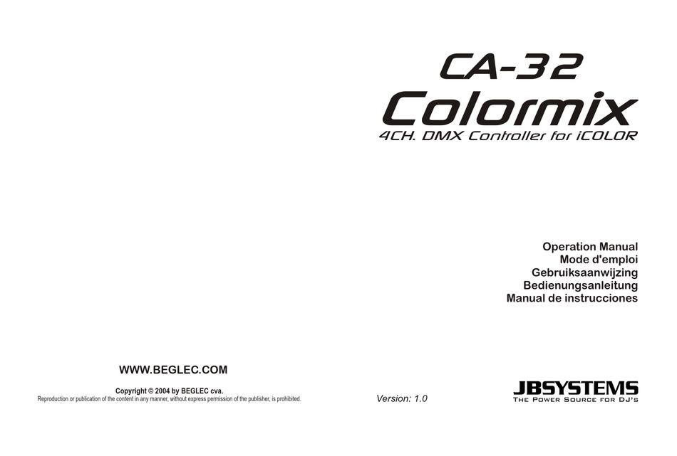 JB SYSTEMS CA-32 COLORMIX OPERATION MANUAL Pdf Download