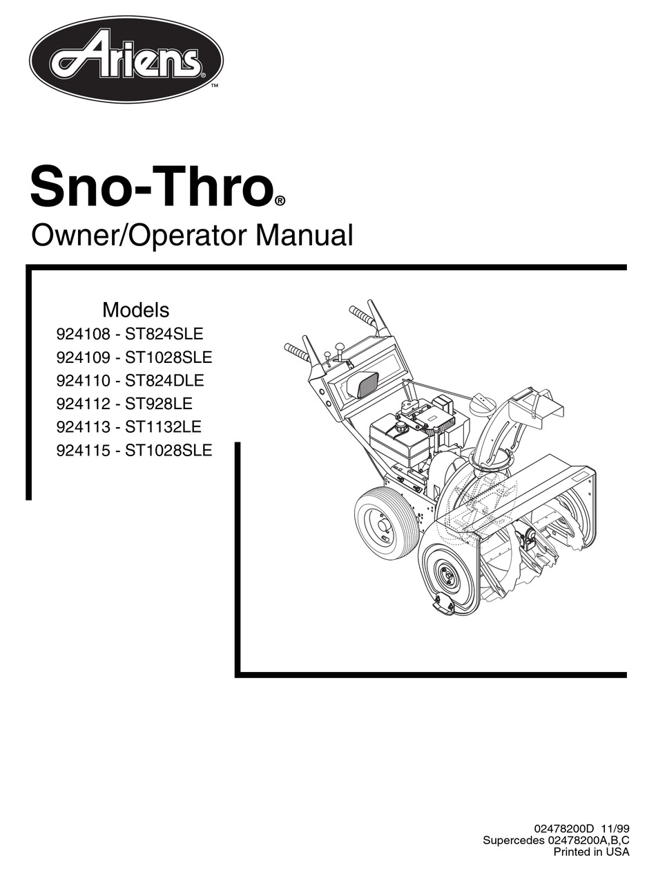 ARIENS SNO-THRO 924108 OWNER'S/OPERATOR'S MANUAL Pdf