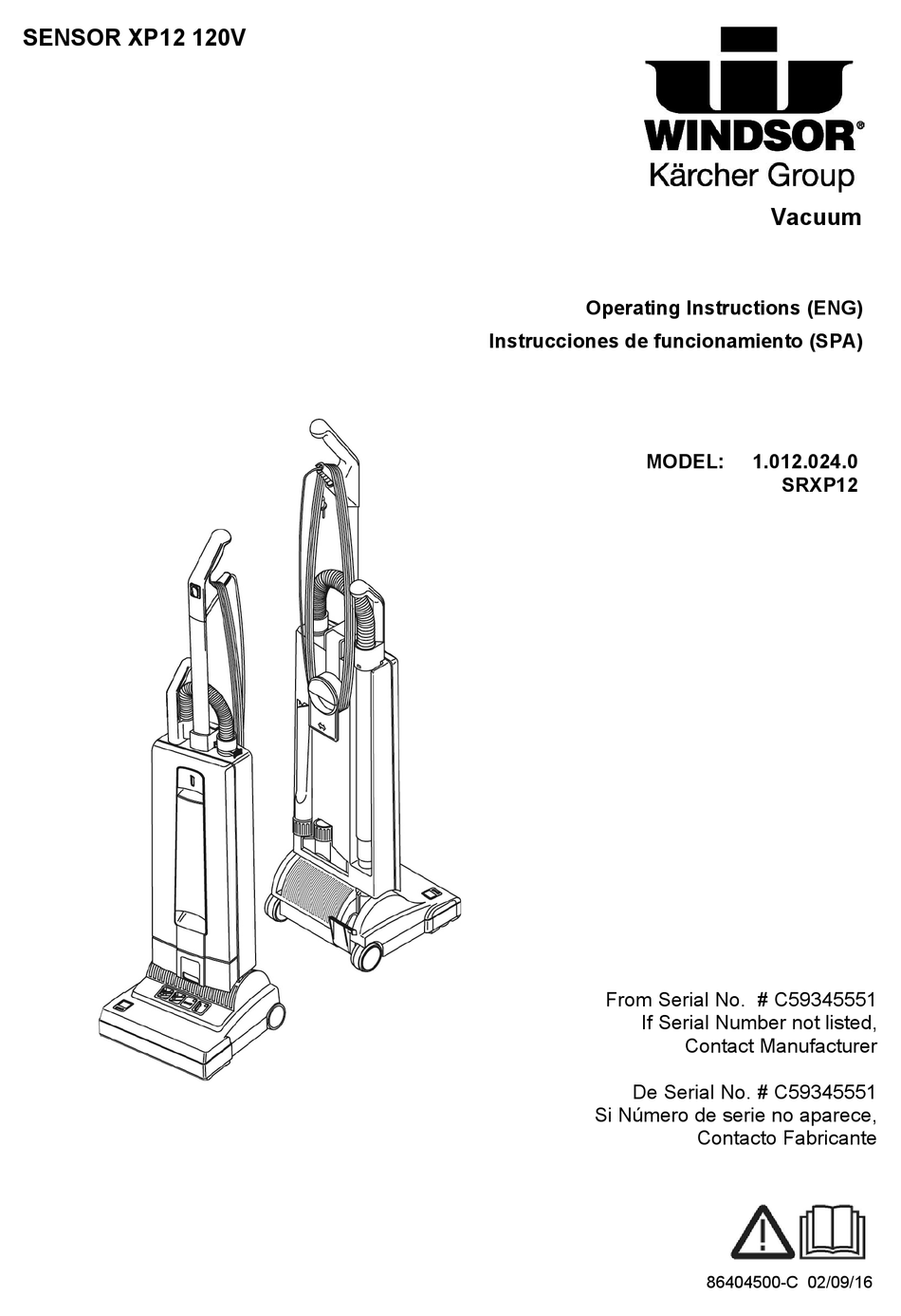 WINDSOR SENSOR XP12 OPERATING INSTRUCTIONS MANUAL Pdf